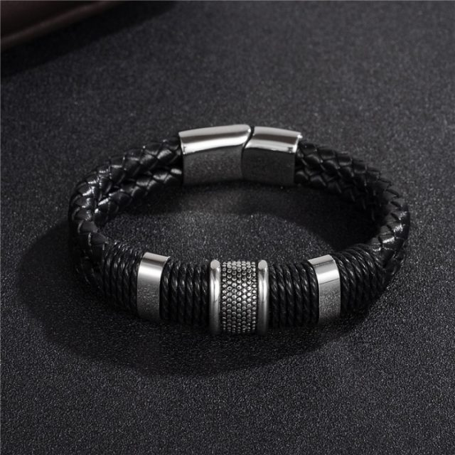 Men's Braided Leather Bracelet with Magnetic Clasp