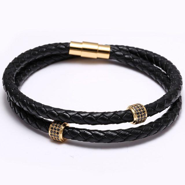 Men's Leather Charm Bracelet