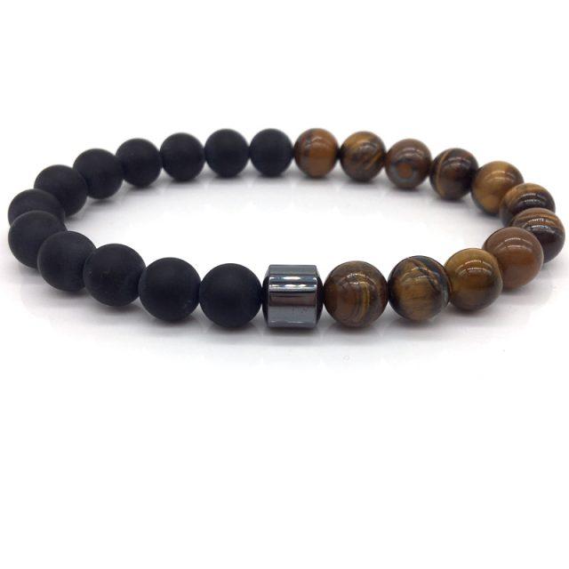 Fashion Men's Bracelet with Matte Beads