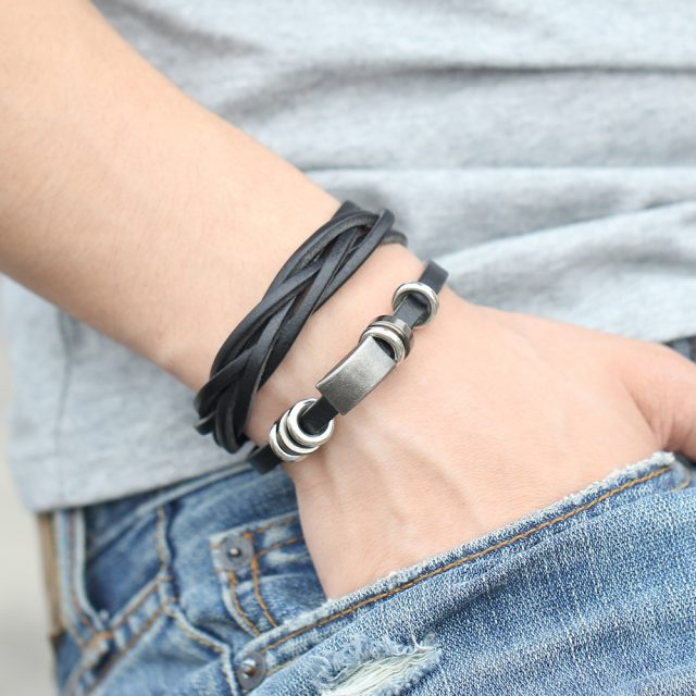 Men's Ethnic Style Wide Leather Bracelet