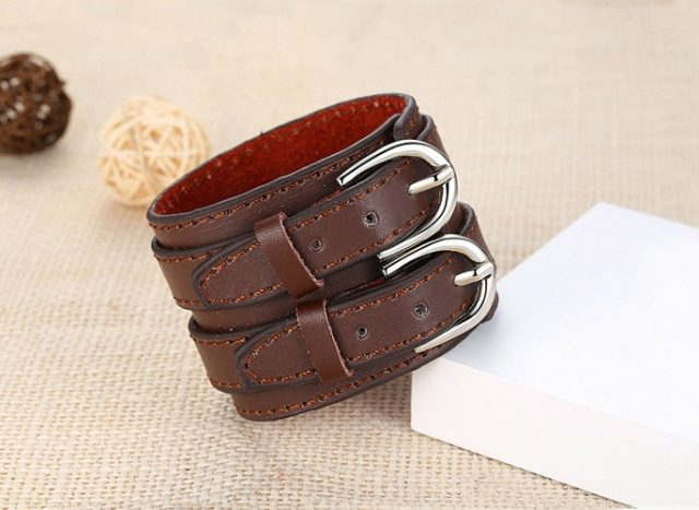 Men's Stylish Wide Leather Bracelet with Two Buckes