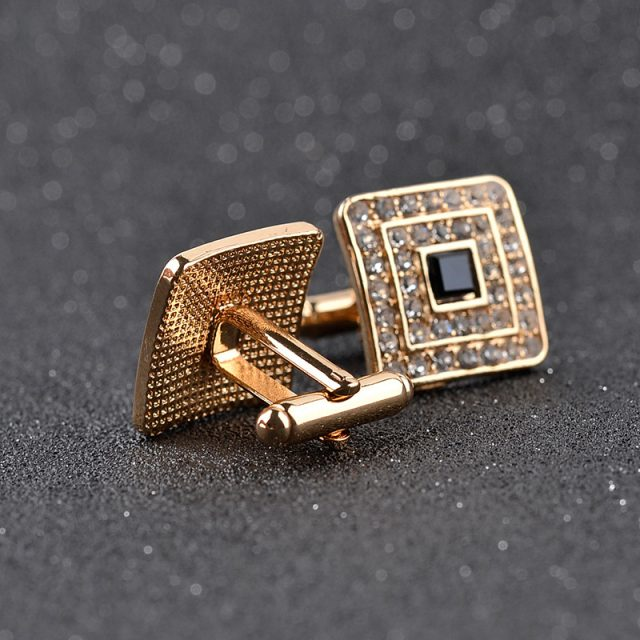 Men's Luxury Rhinestone Crystal Square Cufflinks
