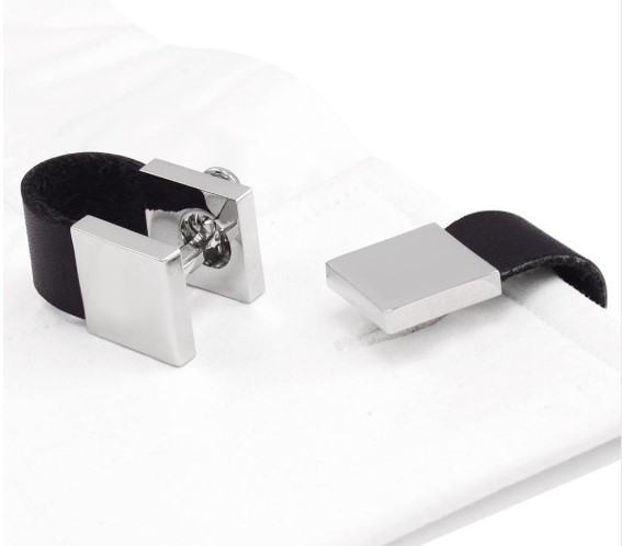 Minimalist Style Black Leather Cufflinks