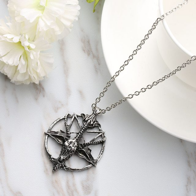 Men's Gothic Style Chain Necklace with Pentagram Themed Pendant