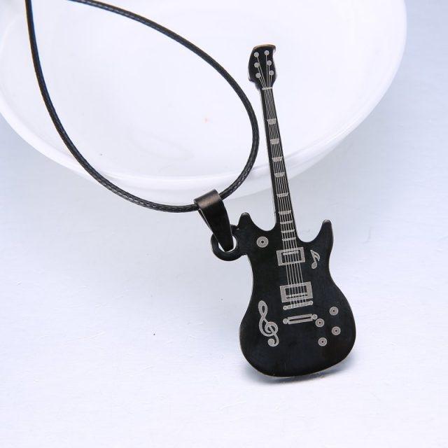 Men's Rock Guitar Pendant Necklace