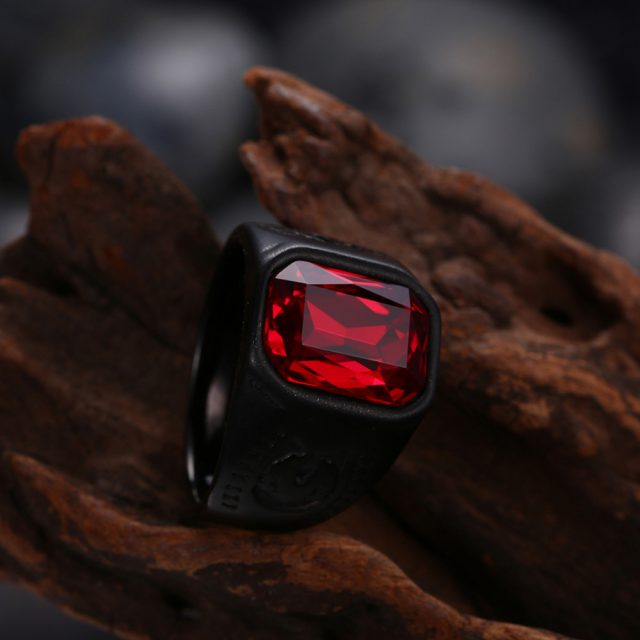 Men's Black Stainless Steel Red Stone Rings
