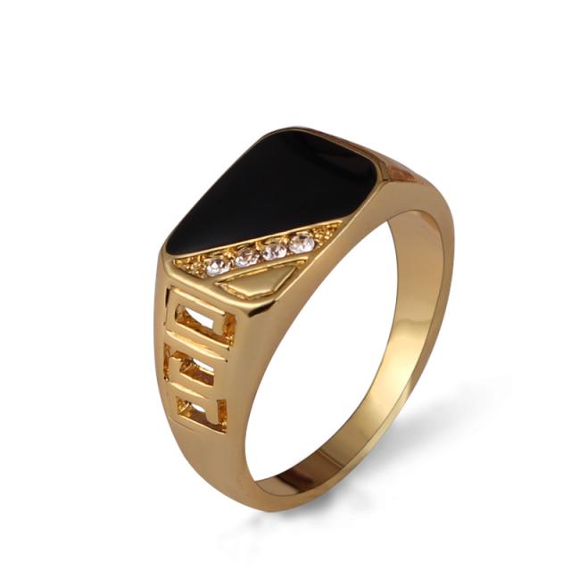 Classic Rhinestone Men's Enamel Ring