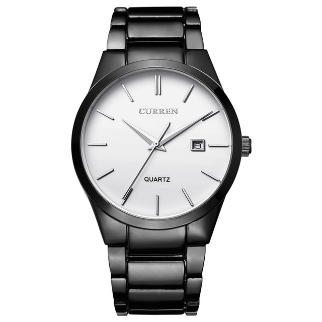 Men's Stainless Steel Business Watch with Date Display