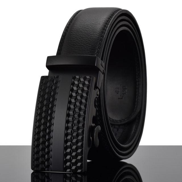 Elegant Monocolor Black Belt With Automatical Buckle