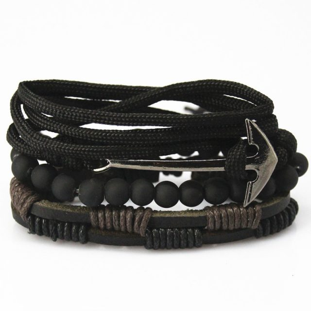 Set of Leather Bracelets for Men