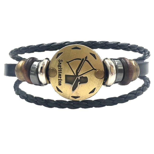 Fashion Zodiacal Leather Unisex Bracelet