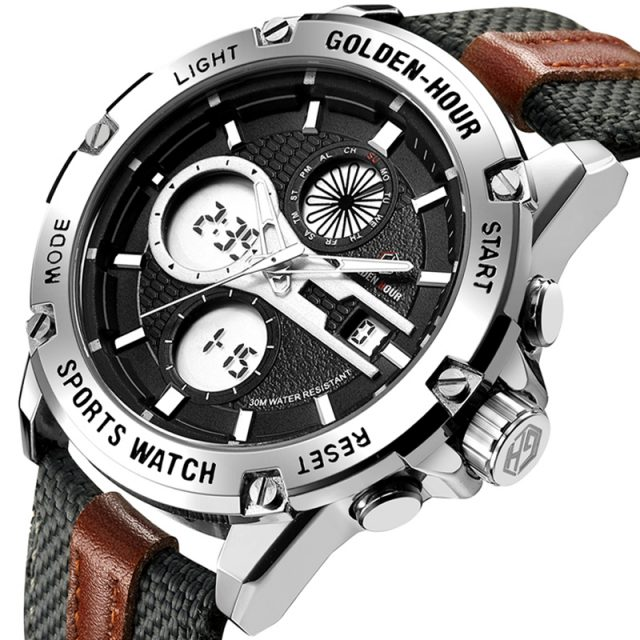 Men's Fashion Outdoor Sports Analog Digital Watches Waterproof LED Display