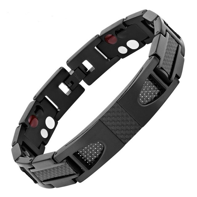 Stylist Men Bracelet Magnetic Pure Titanium Carbon Fiber Germanium