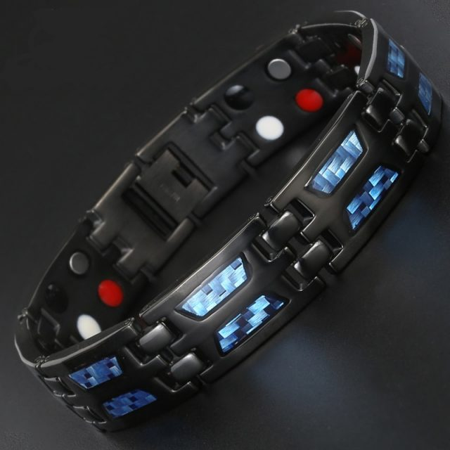 Magnetic Germanium Titanium Blue Carbon Fiber Bracelet for Men